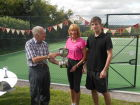David Body presenting the Dodds Cup to the winners, Janey Holborow and Jacob Court