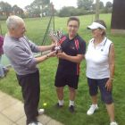 David Body presenting Dodds Cup to the winners:  Joseph Court and Sarah Vertigan